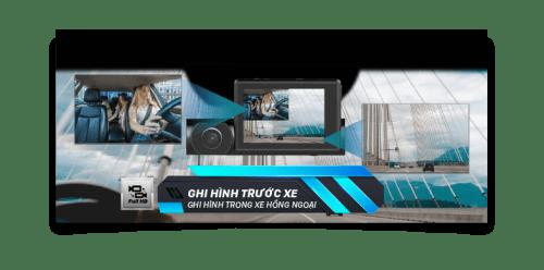Camera hành trình VIETMAP R1 ghi hinh trước và trong xe